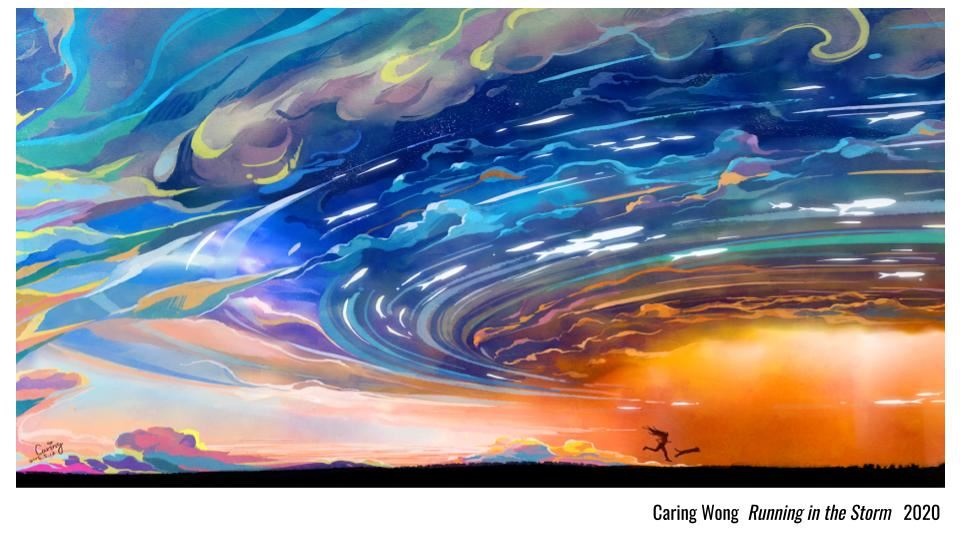 Caring Wong Digital artwork Running in the Storm